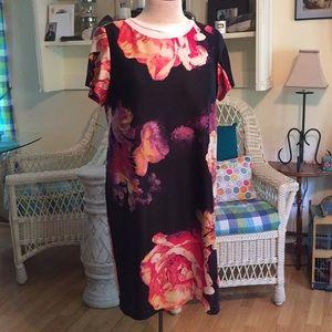 Gorgeous 18W Taylor large Roses print Sheath Dress